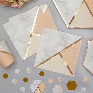 Sada 16 papierových obrúskov Neviti Gold Colour Block Marble