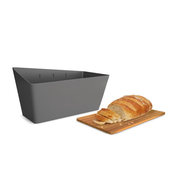 Chlebník s krájacou doskou Bread Bin, sivý