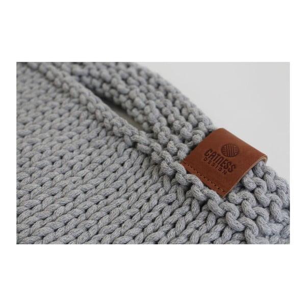 Pletená kabelka Catness, svetlosivá, 35x38 cm