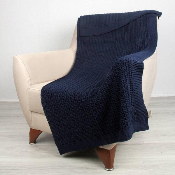 Modrá bavlnená deka Carla, 170 x 130 cm