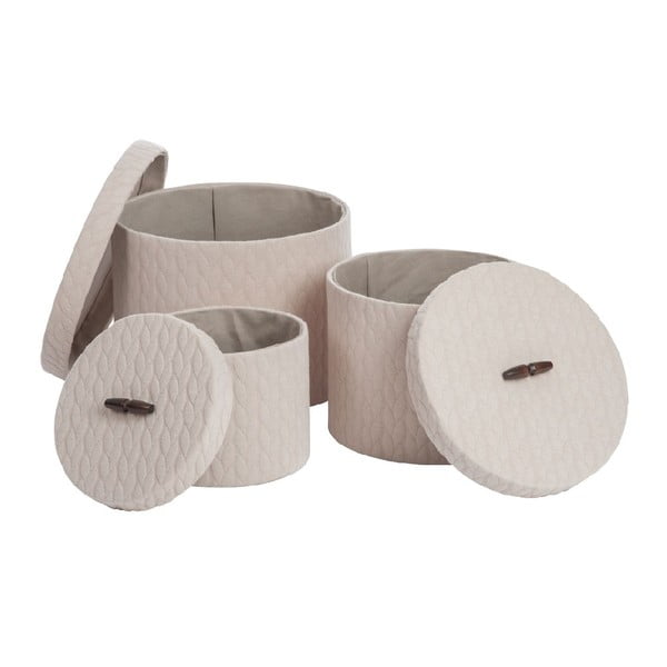 Set 3 boxov Cream Textile