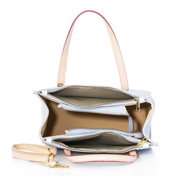 Kožená kabelka Suede Braid White