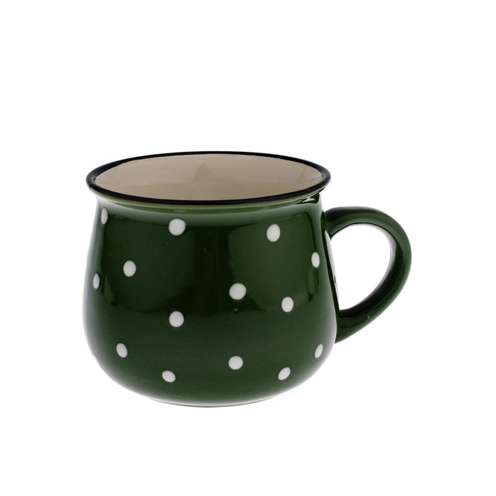 Zelený keramický hrnček s bodkami Dakls Premio, 770 ml