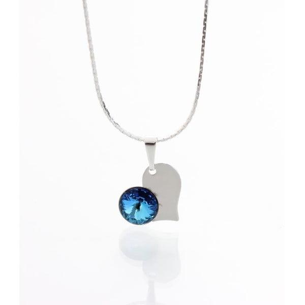 Modrý náhrdelník so Swarovski krištáľmi Yasmine Heart