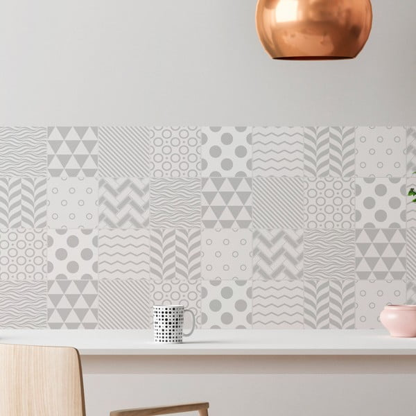 Sada 9 dekoratívnych samolepiek na stenu Ambiance Finnish, 15×15 cm