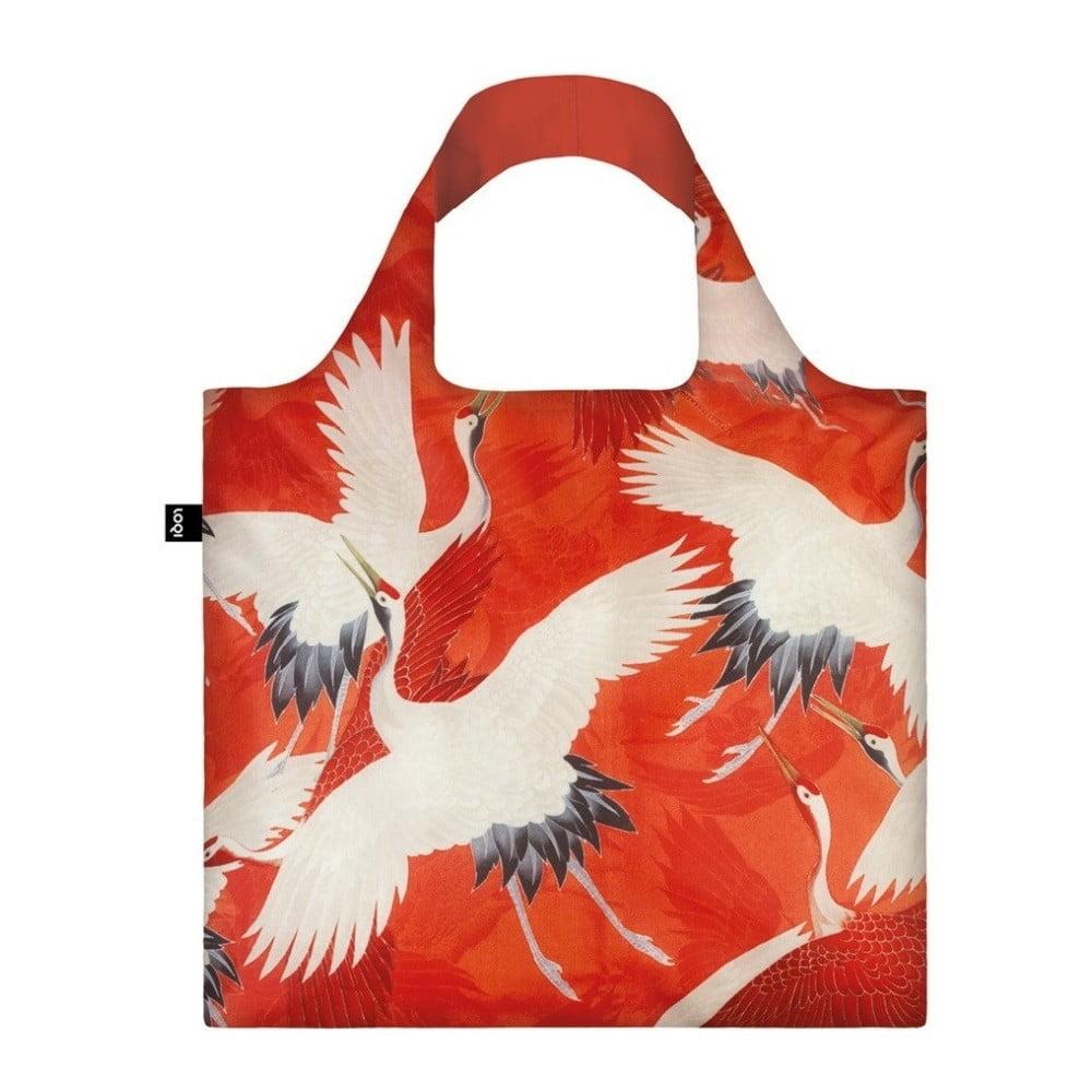 Skladacia nákupná taška s kapsičkou LOQI Cranes