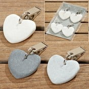 Sada 4 tmavosivých závesných dekorácií v tvare srdca Boltze Pin Up