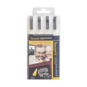 Sada 4 bielych kriedových fixiek na vodnej báze Securit® Liquid Chalkmarker Medium