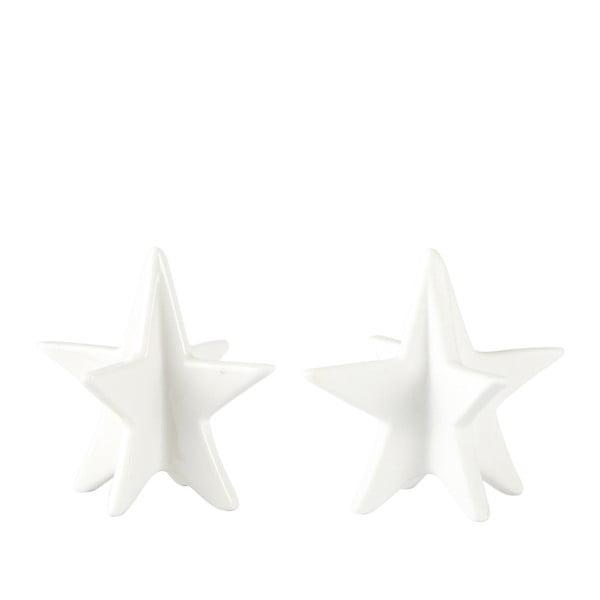 Sada 2 dekoratívnych hviezd KJCollection White Matt, 8 cm