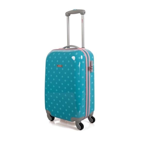 Tyrkysová kabínová batožina s bodkami SKPA-T