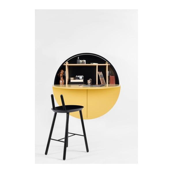Žlto-čierny multifunkčný nástenný stôl Pill EMKO