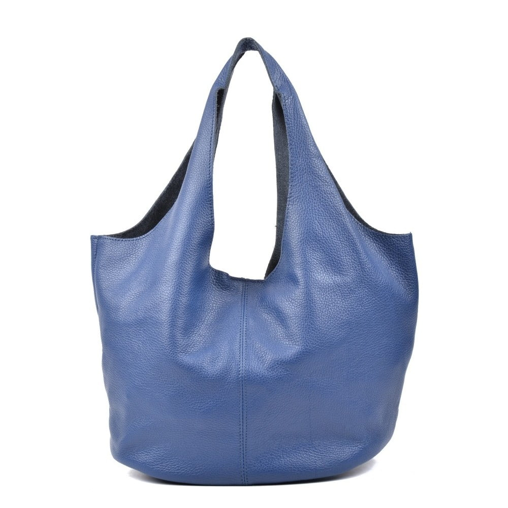 Modrá kožená kabelka Carla Ferreri Barnaba
