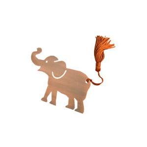 Kovová záložka do knihy v tvare slona Just Mustard Lucky Elephant