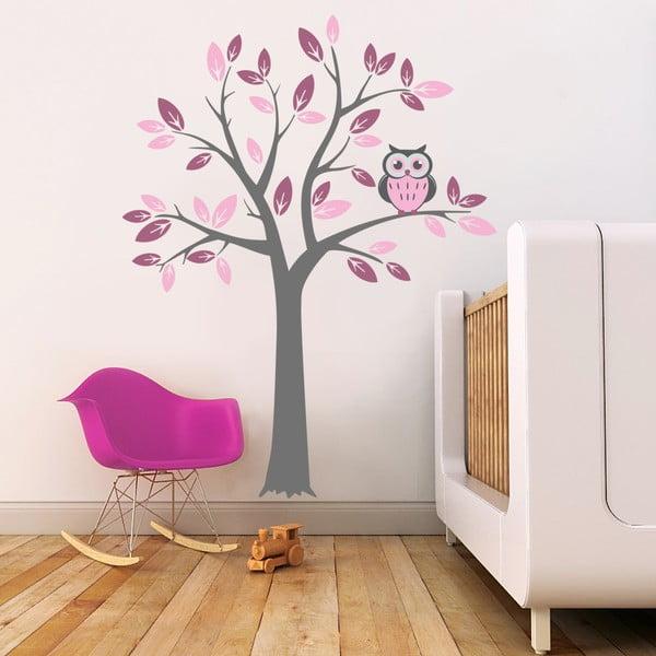 Samolepka na stenu Strom a ružová sova, 2 archy, 70x50 cm