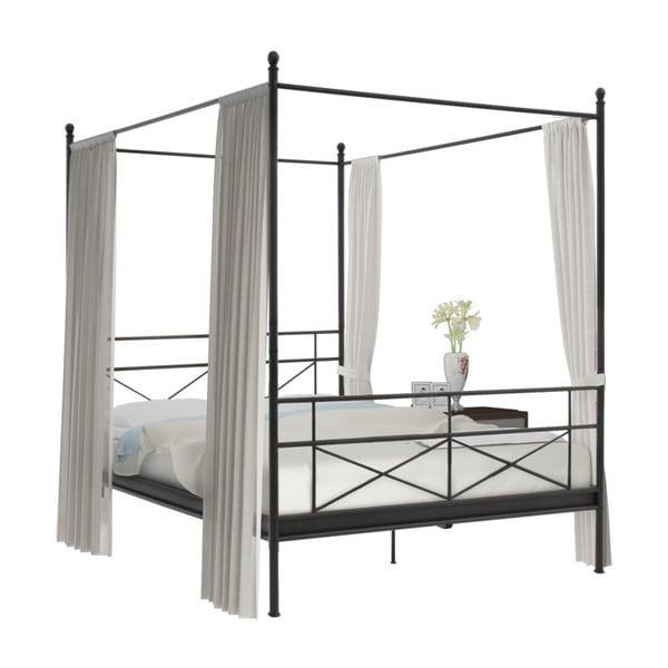 Čierna kovová dvojlôžková posteľ s nebesami Støraa Tanja, 160 x 200 cm