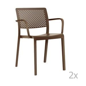 Sada 2 hnedých záhradných stoličiek sopierkami Resol Trama