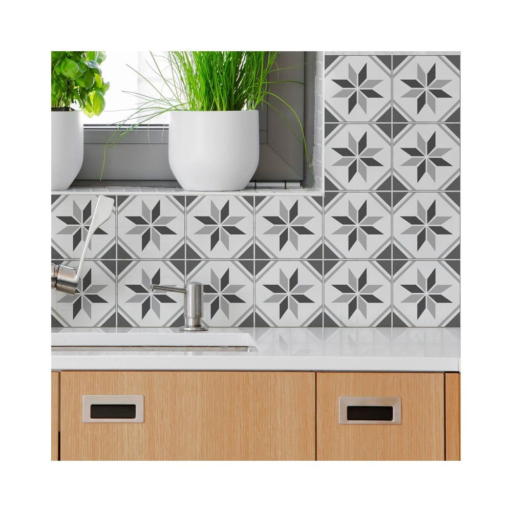 Sada 60 nástenných samolepiek Ambiance Wall Decal Cement Tiles Numa, 10 × 10 cm