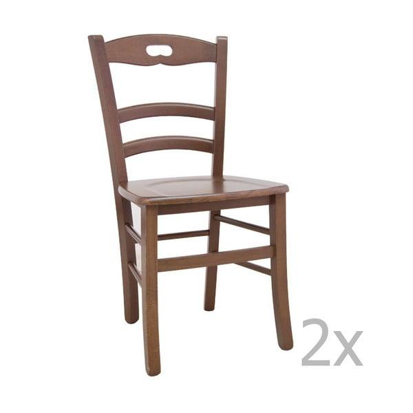 Sada 2 svetlých drevených jedálenských stoličiek Castagnetti Lavagna