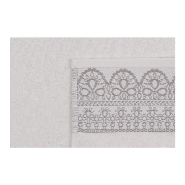 Sada dvoch bielych uterákov s béžovým detailom Romantica, 90 × 50 cm
