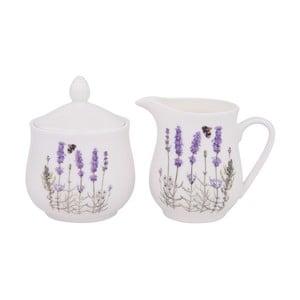 Cukornička a nádoba namlieko z kostného porcelánu Ashdene I Love Lavender
