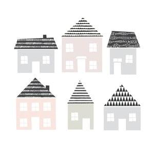 Sada 6 nástenných samolepiek Dekornik Little Town