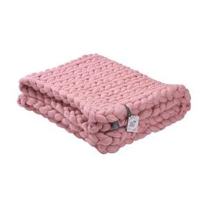Ružový ručne pletený pléd z merino vlny WeLoveBeds, 180×140 cm
