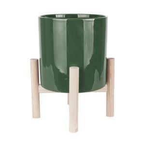 Zelený keramický kvetináč na podstavci z borovicového dreva PT LIVING Trestle