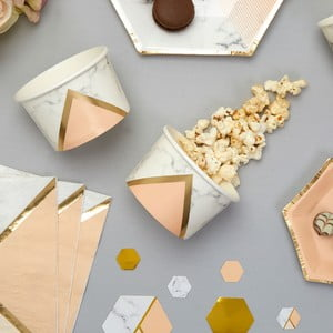 Sada 8 papierových kelímkov na sladkosti / zmrzlinu Neviti Gold Colour Block Marble