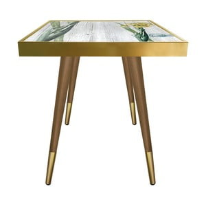 Príručný stolík Caresso Yellow Orchid Square, 45 × 45 cm