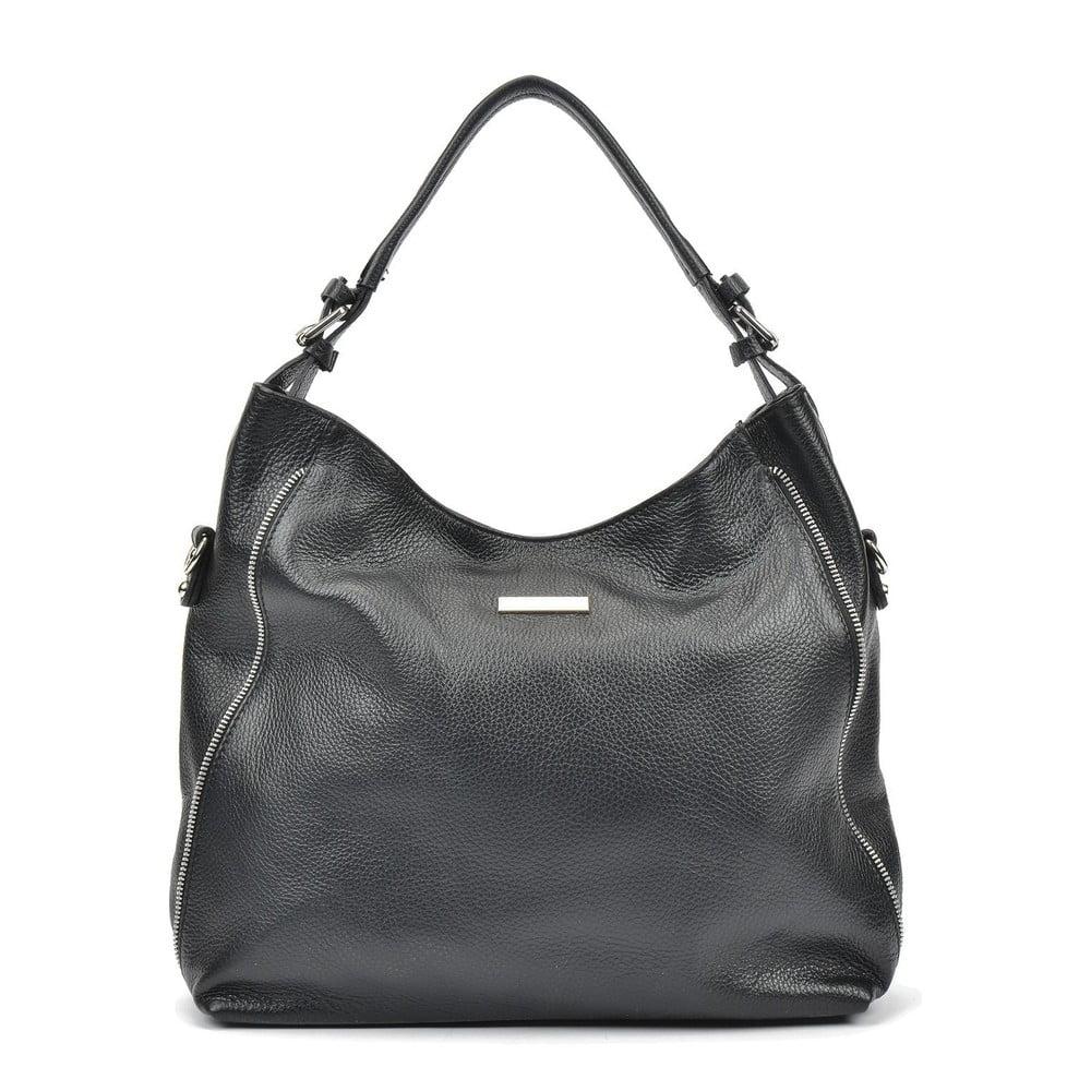Čierna kožená kabelka Mangotti Bags Bea