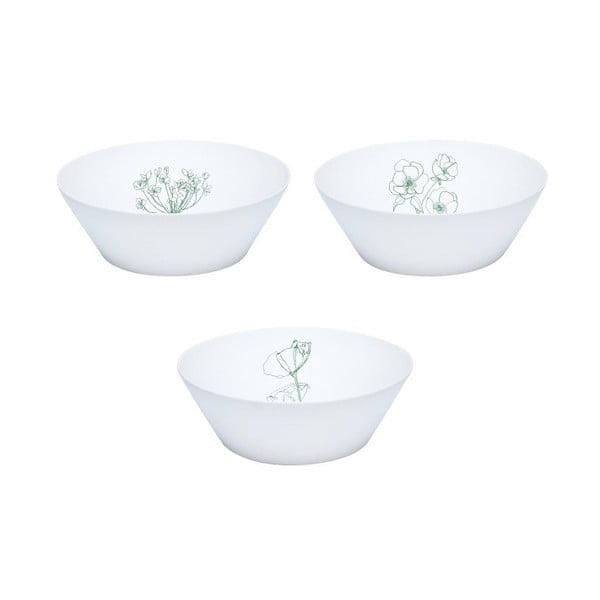 Sada 3 bielo-zelených porcelánových misiek Hübsch Cody
