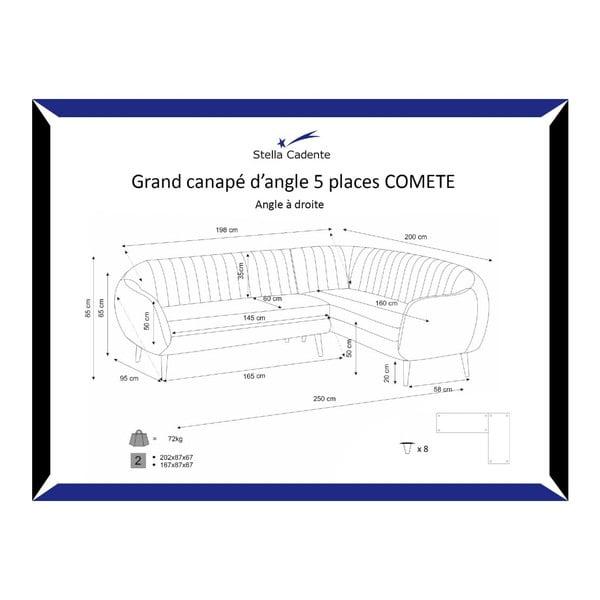 Pohovka Comete Grand Anthracite s leňoškou na pravej strane