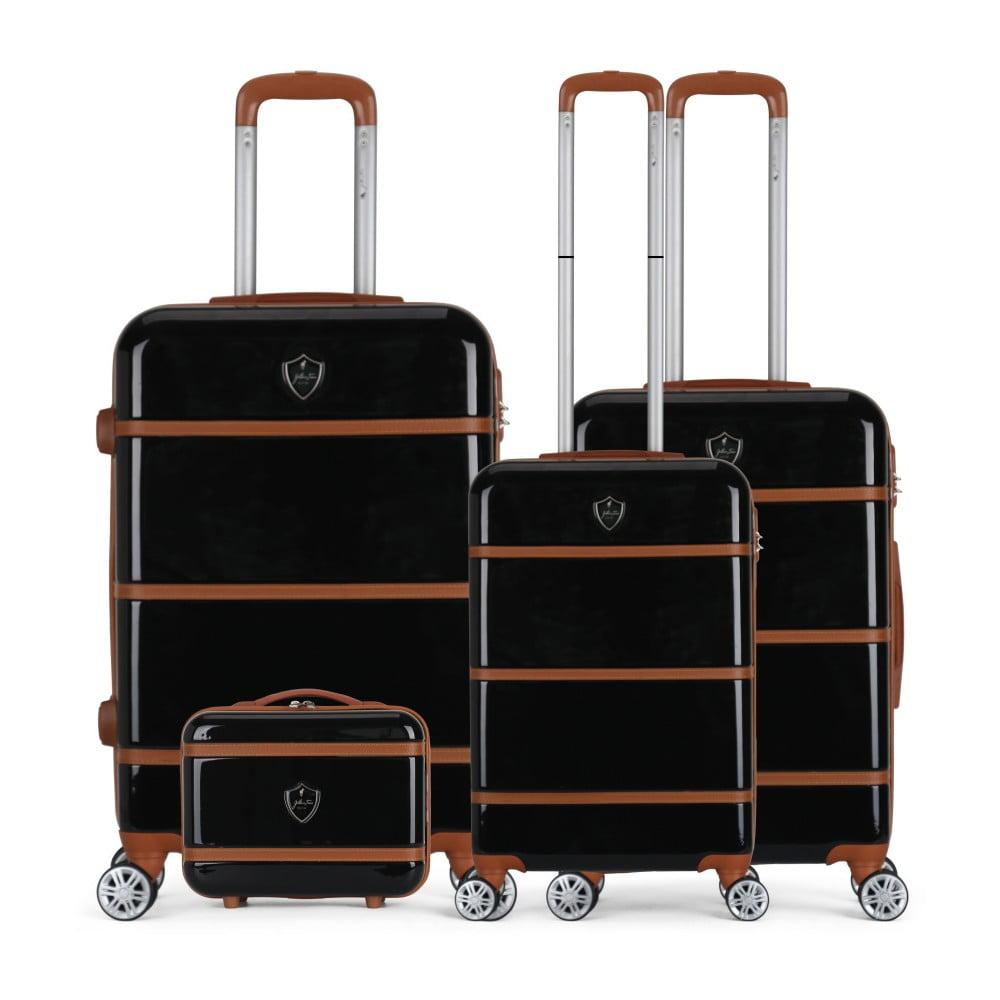 Sada 4 čiernych cestovných kufrov na kolieskach GENTLEMAN FARMER Integre & Vanity Duro
