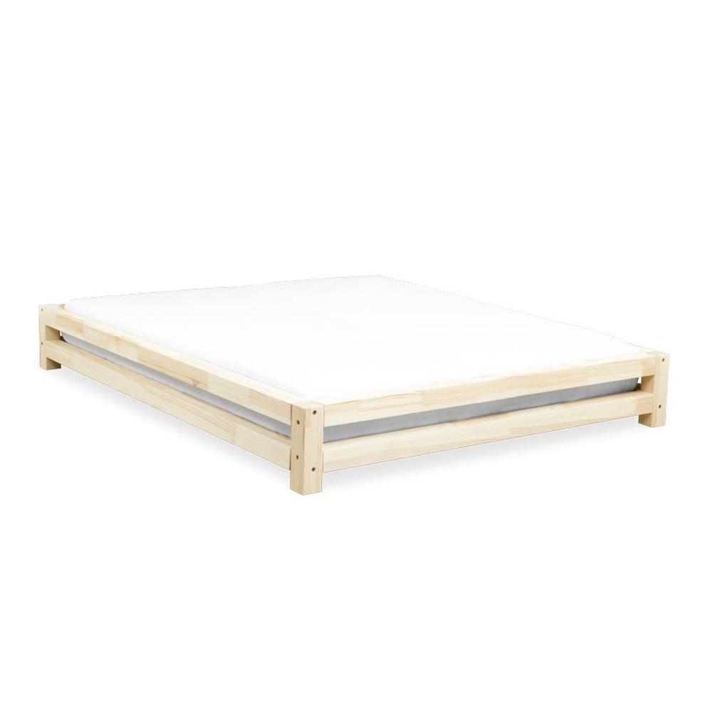 Dvojlôžková posteľ ze lakovaného smrekového dreva Benlemi JAPA, 160 × 190 cm