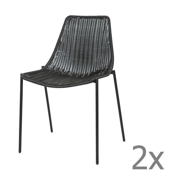 Sada 2 čiernych stoličiek Morris Black