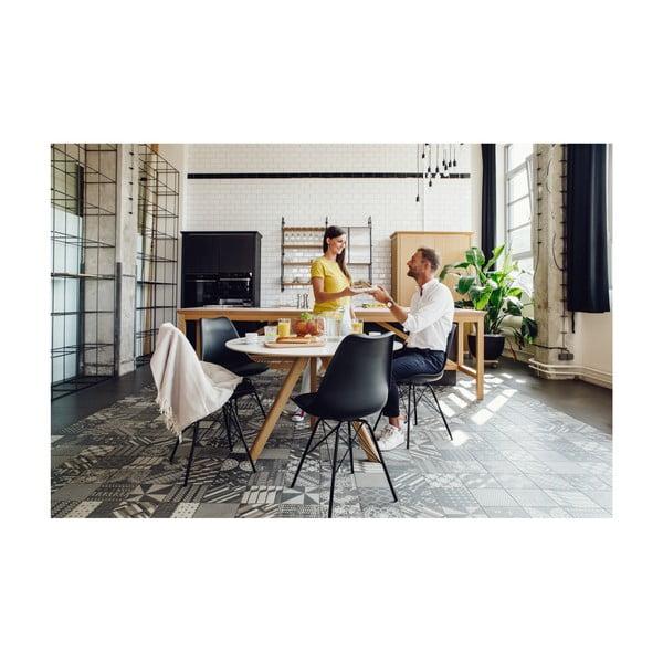 Sivá stolička s čiernym podnožím z kovu loomi.design Eco