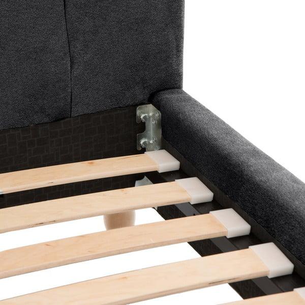 Tmavosivá posteľ Allon 180x200cm, svetlé nohy