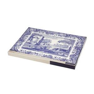 Sada 4 bielo-modrých korkových prestieraní Spode Blue Italian