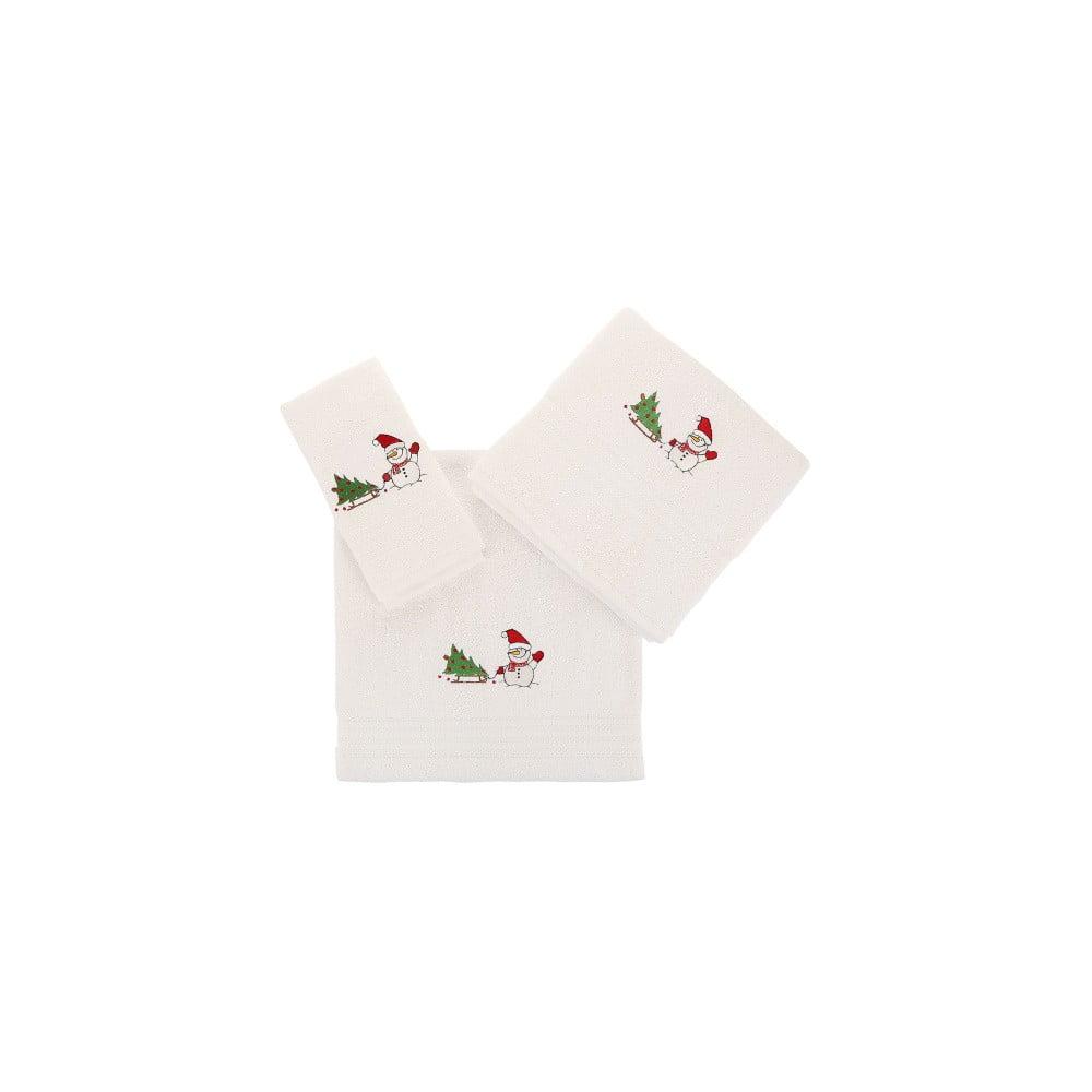 Sada 3 bielych vianočných uterákov Snowy