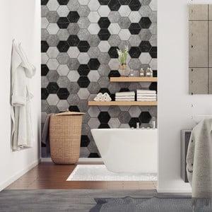 Sada 28 dekoratívnych samolepiek na stenu Ambiance Hexagons Marble, 10×9 cm