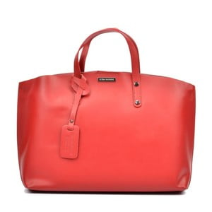Červená kožená kabelka Luisa Vannino Veronica