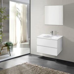 Kúpeľňová skrinka s umývadlom a zrkadlom Flopy, odtieň bielej, 60 cm