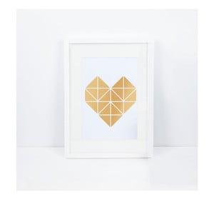 Plagát Origami Herz Gold, A3