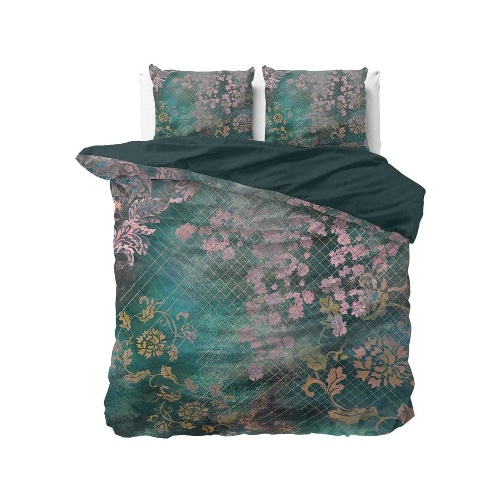 Zelené bavlnené obliečky na dvojlôžko Pure Cotton Tiran Flower, 200 x 200 cm