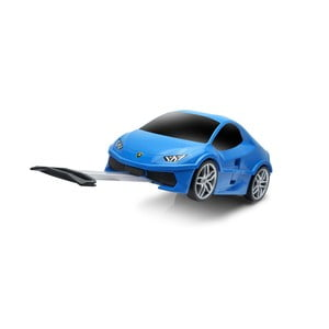 Modrý detský kufor na kolieskach v tvare auta Packenger