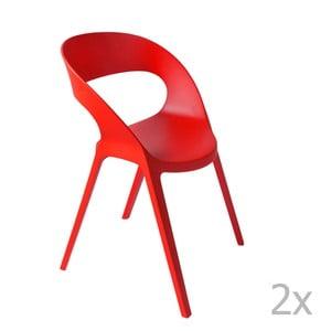 Sada 2 červených záhradných stoličiek Resol Carla