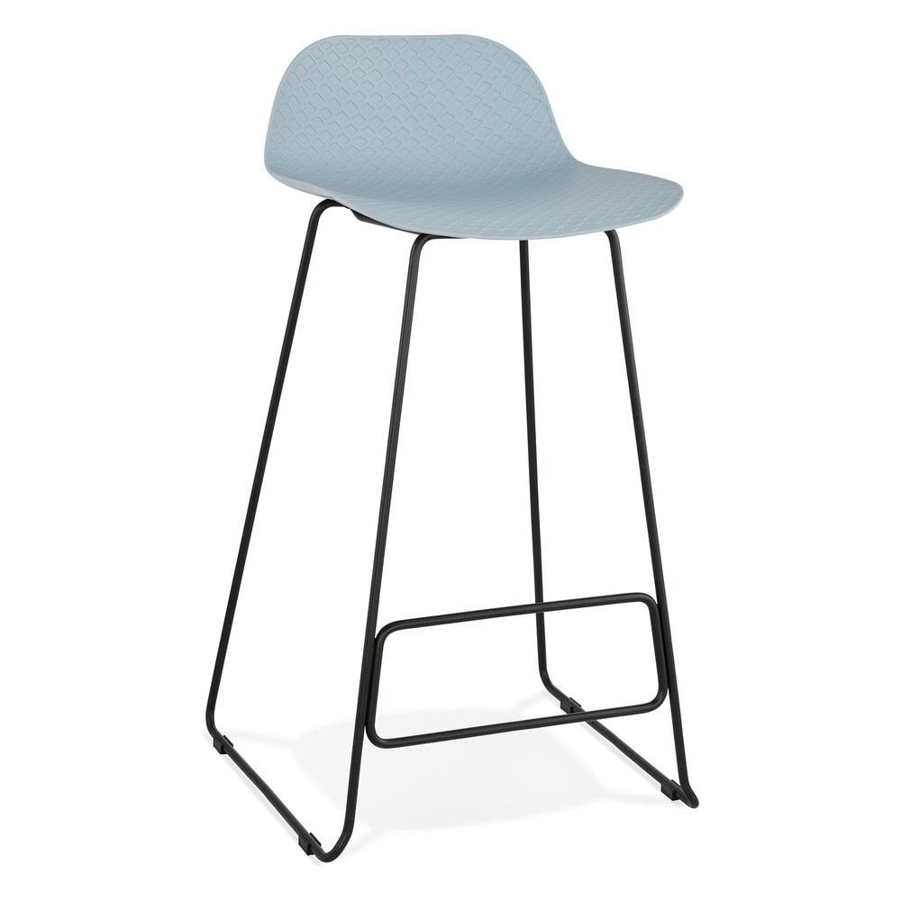 Modrá barová stolička s čiernymi nohami Kokoon Slade, výška sedu 76 cm