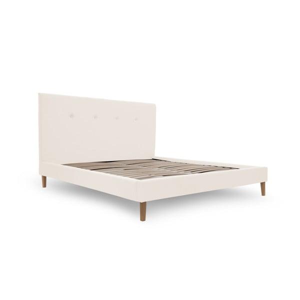 Krémová posteľ VIVONITA Kent 180x200cm, prírodné nohy