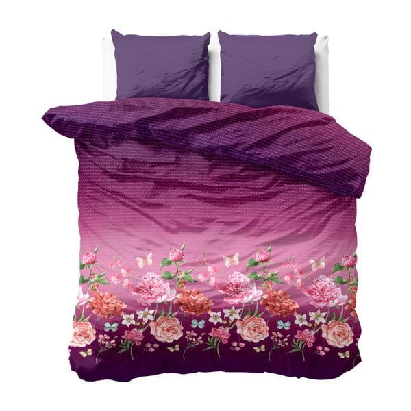Fialové obliečky na dvojlôžko z mikroperkálu Zensation Bright Flowers, 200×200 cm