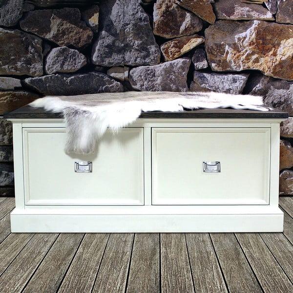 Biela lavica Canett Skagen, 2 zásuvky